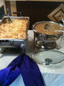 "Oven Baked Mac n cheese, Lima Bean Soup ""Vegetarian Options"""